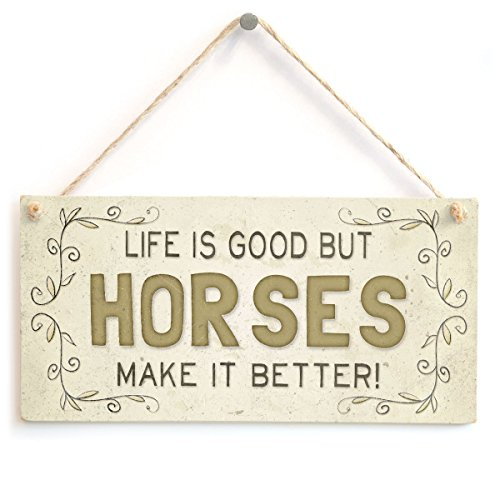 Meijiafei Life Is Good But Horses Make It Better! - Super Cute Country Home Style Home Accessory Gift Sign for Horse Lovers ()