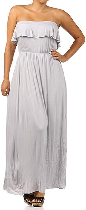 You Plus Me Women\'s Plus Size Strapless Maxi Dress 2X Grey at Amazon ...