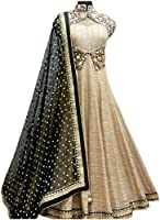 Queen of India Women's Gown Latest Party Wear Designer Net silk Embroidery Semi Stitched Free Size Salwar Suit Dress Material Available On Sale