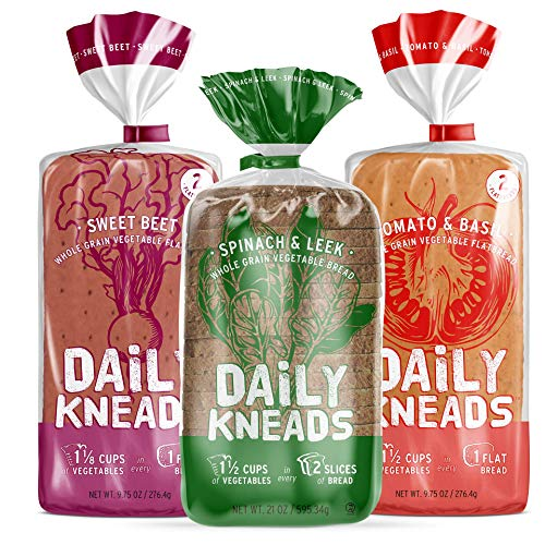 Daily Kneads Bread Whole Grain Veggie Bread + Flatbread Combo Variety 3-Pack | Sweet Beet, Spinach & Leek, Tomato & Basil | 1 Vegetable Bread Loaf, 2 Veggie Flatbreads (40.5 oz total) | All natural