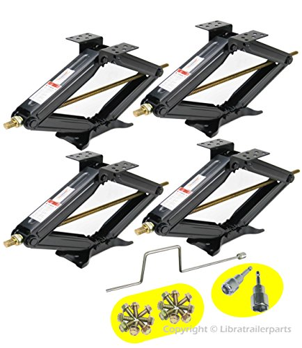 LIBRA Set of 4 5000lbs RV Trailer Stabilizer Leveling Scissor Jacks w/Handle & Dual Power Drill sockets & mounting Hardware - Extended Aluminum Swing