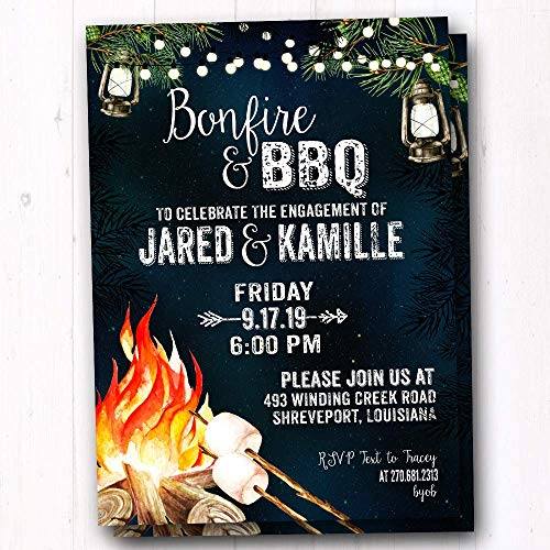 I Do BBQ & Bonfire Invitation - Rustic Couples Shower Invite - Backyard Campfire Party Invites - Fall Camp Out Party Invitations - Set of 20 Invites w/Envelopes]()