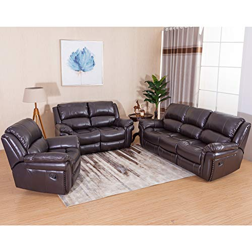 3-Piece Leather Reclining Sofa Set Leatherette Recliner for Living Room, Dark Brown by Juntoso Review
