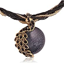 Eleganzza Peacock Crystal Pendant Necklace For Women & Girls (Black)