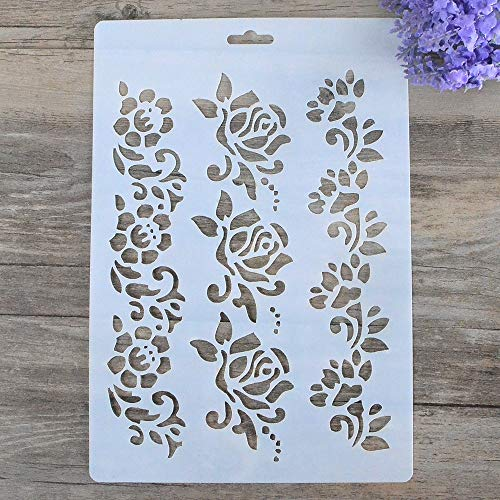 DIY Decorative Stencil Template for Painting on Walls Furniture Crafts (Rose Flower)