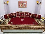 Bright Cotton Diwan Set Embroidery Patchwork Cotton Elephant Design Maroon Red Divan Set DIVAN105-5