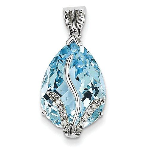 Or blanc 14 carats avec topaze bleu et diamants bruts Pendentif JewelryWeb