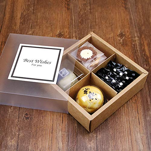 PACKFAN 12 Packs Brown Kraft Paper Cookie Boxes with 4 Lattices, Best for Mother's Day, Christmas, Packing Your Cupcake, Biscuit, Cookies Pastry Goodies Containers with 12 Sticks