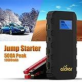 Aickar Car Jump Starter, 500A Peak 13600mAh Portable Car Battery Jump Starter with Jumper Cables Heavy Duty