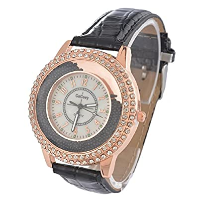 Souarts Artificial Leather Quicksand Rhinestone Round Quartz Bracelet Wrist Watch Black