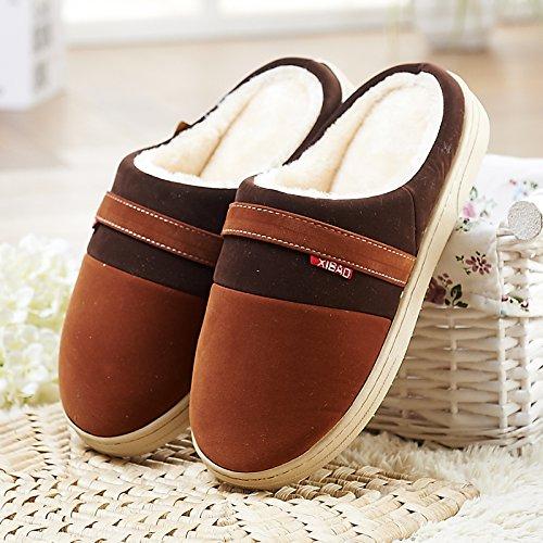 Fankou pavimenti in legno cotone pantofole femmina spesso anti-slittamento inverno caldo coppie scarpe indoor home soggiorno home pantofole ,39/40, in rosso