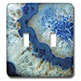 3dRose LSP_275049_2 Art Print of Luxury Fashion Blue Marble Agate Gem Mineral Quartz Toggle Switch,