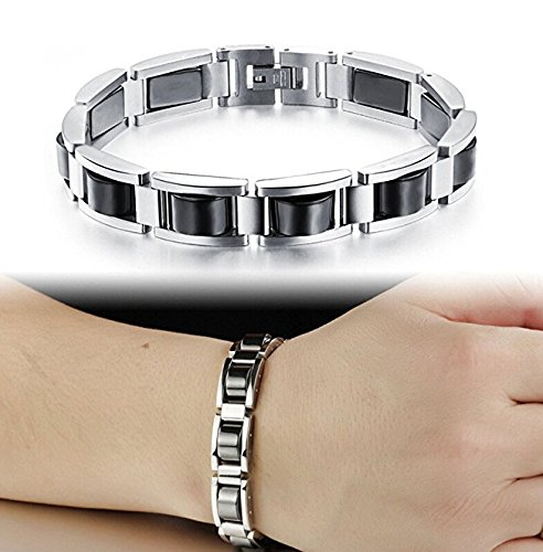 Feraco-Men-Sleek-Stainless-Steel-Magnetic-Therapy-Bracelet-in-Velvet-Gift-Box-with-Free-Link-Removal-Tool-Black
