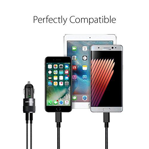 czznn Cargador de coche carga rápida 2.0 Dual USB adaptador de coche para Samsung Galaxy Note de carga inteligente con 3 ft Micro USB Android Cable: ...
