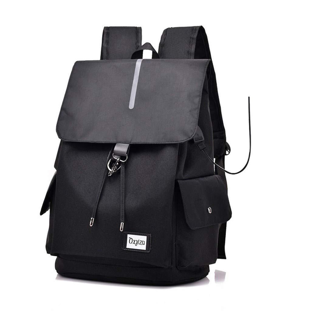 Black BAJIANLI USB interface charging smart backpack canvas polyester shoulder bag,bluee