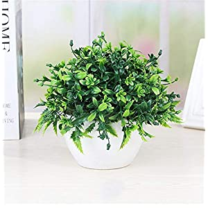 Artificial Green Plant Potted Plant, Artificial Flower Fake Plastic Flowering Plant Artificial Shrub Bundle Table Flower Center Piece Arrangement 62