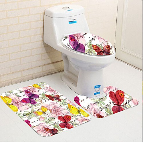 Keshia Dwete three-piece toilet seat pad customButterflies Decoration Flowers And Text Camellia Love Letters Romantic Aged Calligraphy Classics Antique