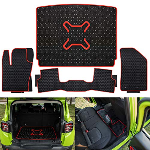 Yoursme Floor Liners Slush Mat & Cargo Liner Rear Cargo Tray Trunk Floor Mat for 2015-2019 Jeep Renegade Rubber Car Floor Liners Set All Weather Protection Heavy Duty Odorless