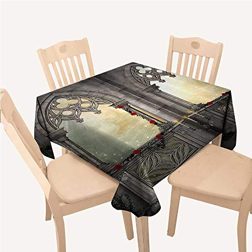 WilliamsDecor Gothic Decor Table Cloth Cover Vintage Ottoman Palace Balcony for Sultans with Red Rose Flowers Ivy Terrace ImageBeige Small Square Tablecloth W36 xL36 inch