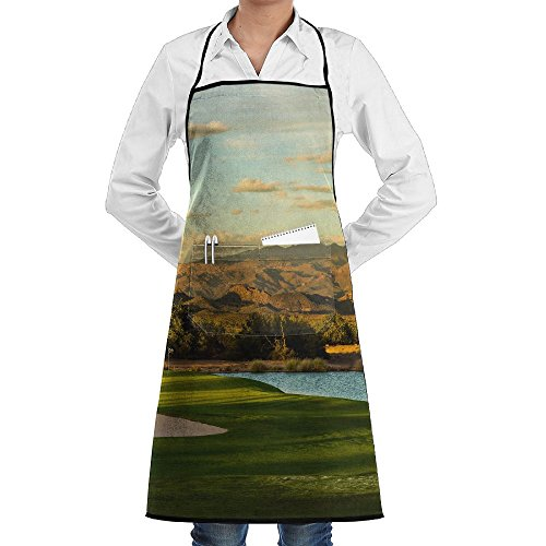 Golf Sports Gym Ground Apron Lace Adult Mens Womens Chef Adjustable Polyester Long Full Black Cooking Kitchen Aprons Bib With Pockets For Restaurant Baking Crafting Gardening BBQ (Golf Bbq Sports Apron)
