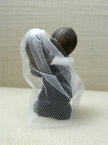 Dorigan home series Bride And Groom Cake Topper Crossing Threshold Dark Brown Hair With Veil Vintage