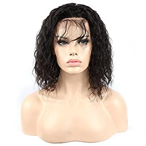 YB Hair lace front wigs- human hair virgin brazilian hair 130% Density Remy 100% Human Hair Loose Curly hair Wigs with Baby Hair for Black Women 10""