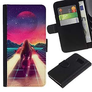 KingStore / Leather Etui en cuir / Samsung Galaxy S6 / Pintura abstracta del espacio de la ciencia ficción púrpura Estrellas