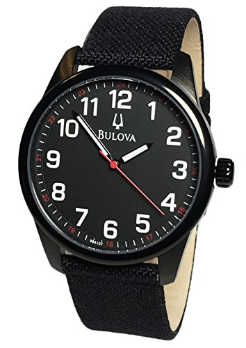 Bulova 98A127 Mens Analog Round Watch Nylon/Leather Black Strap