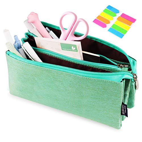 Pencil Case Bag, Yloves Big Capacity Pencil Pen Pouch Box Holder Organizer for School & Office Supplies with 2 PCS Index Tabs (Green)