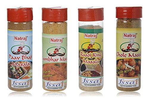 Natraj Chole Masala, Rasoi King Masala, Sambhar Masala and Pav Bhaji Masala - 240 grams (Combo of 4)