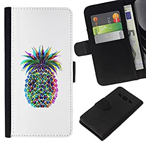 A-type (Pineapple Colors Art Fruit) Colorida Impresión Funda Cuero Monedero Caja Bolsa Cubierta Caja Piel Card Slots Para Samsung Galaxy A3