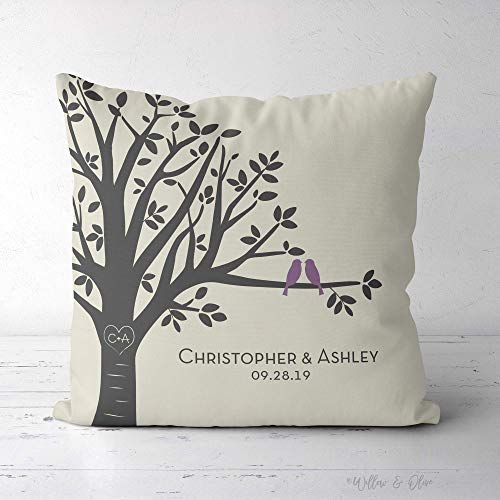 Family Tree Pillow, Cotton Anniversary Gift Pillow, Personalized Wedding Pillow