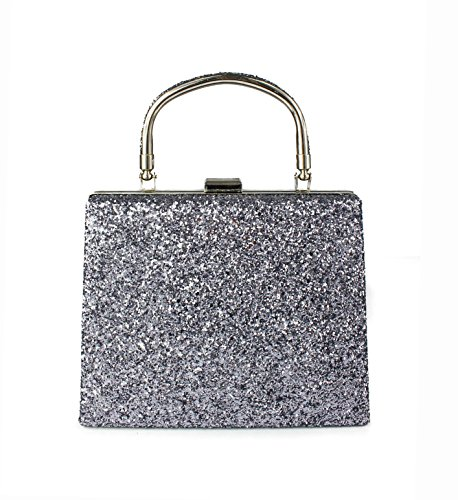Women Ladies For Dimensions Pewter Wedding 19 Clutch Prom Party Approx 5x6cm 5x15 Evening Bag Bridal Shiny Glitter gq5zPv