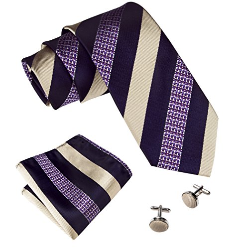Barry.Wang New Fashion Woven Men's Necktie Set Stripe,Purple Yellow,One Size