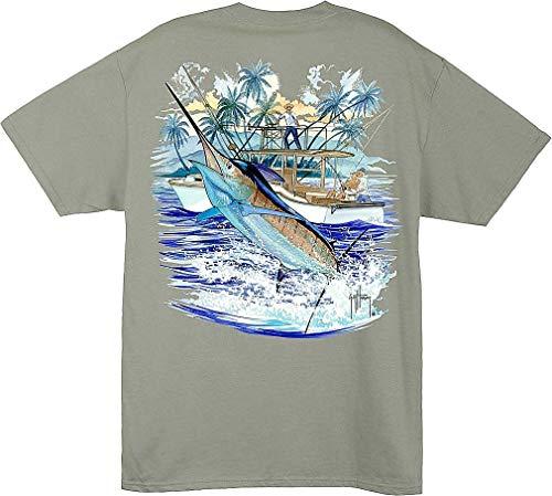 Guy Harvey Mens Marlin and Boat T-Shirt Large Green