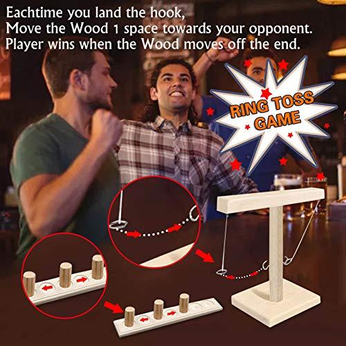 Tik Tok Ring Toss Game ,Toss Haken und Ring Spiel, Ringwurfspiel aus Holz, Tischplatten-Ringwurf-Spiele, Party Spiel für Family Bar Fun Trinkspiele (D)