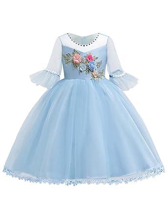 f77cb68254e83 Blevonh Sky Blue Dress for Girl Lace Flower Girls Dress for Sleeve Scoop  Neck 3D Embroidered