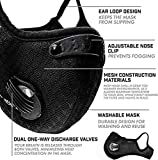 Qikafan Black Half Face Outdoor Sport Mask Reusable Activated Carbon Dustproof Respirator Safety Mask Respirator Activated Carbon Anti Cold Sports Mask Filter Bicycle Mask Mountain Bike Riding Mask