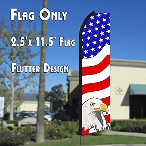5b5905ffc Amazon.com : USA AMERICAN PATRIOTIC (Eagle) Flutter Polyknit Feather Flag  (11.5 x 2.5 feet) : Garden & Outdoor
