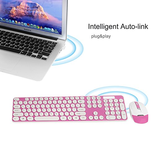 Wireless Keyboard and Mouse Combo, 2.4GHz Cordless Cute Round Key Set Smart Power-Saving Whisper-Quiet Slim Combo for Laptop, Computer,TV and Mac (Dark Pink) by wawpi (Image #1)
