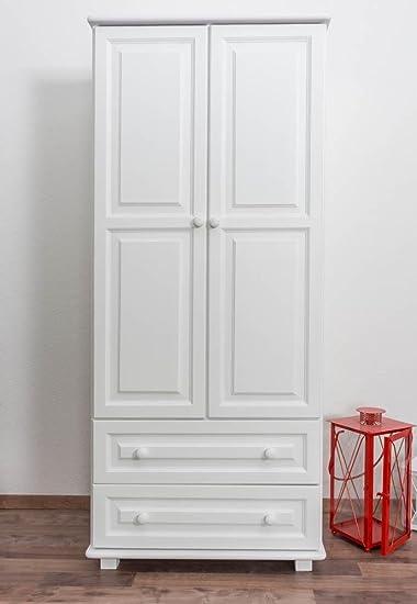 Armadio 80 Cm Larghezza Colore Bianco Legno Di Pino Massiccio