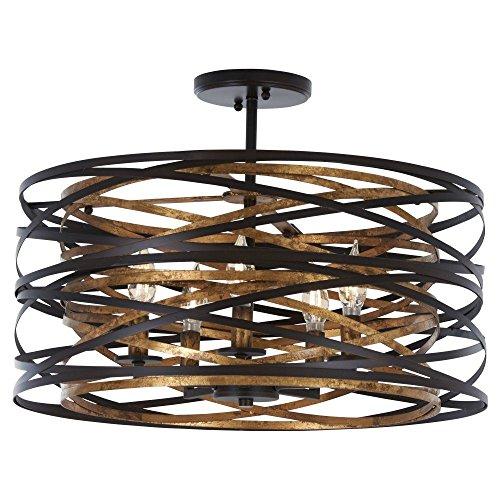 Minka Lavery Farmhouse Semi Flush Mount Ceiling Light 4671-111 Vortic Flow Lighting Fixture, 5-Light 300 Watts, Dark Bronze