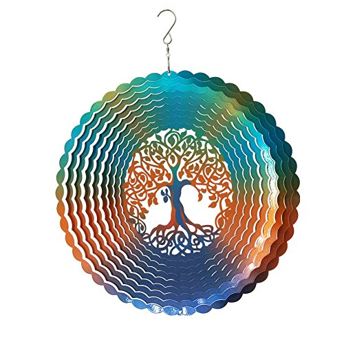 Fonmy Stainless Steel Wind Spinner-3d, Laser Cut Hand Painted with Color Sparkling Powders, Indoor Outdoor Garden Decoration Crafts Ornaments,Multi Color Tree of Life Wind ()