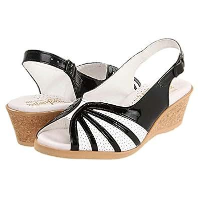 Worishofer 881 Womens Black White Patent Leather Wedge Heel Slingback Sandals