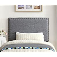 Furniture of America Petunia Flax Fabric Headboard with Nail Head Trim, Full/Queen, Gray