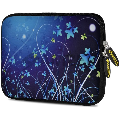 Amzer 7.75-Inch Designer Neoprene Sleeve Case Cover Pouch for Tablet, eBook and Netbook - Midnight Lily (AMZ5006077)
