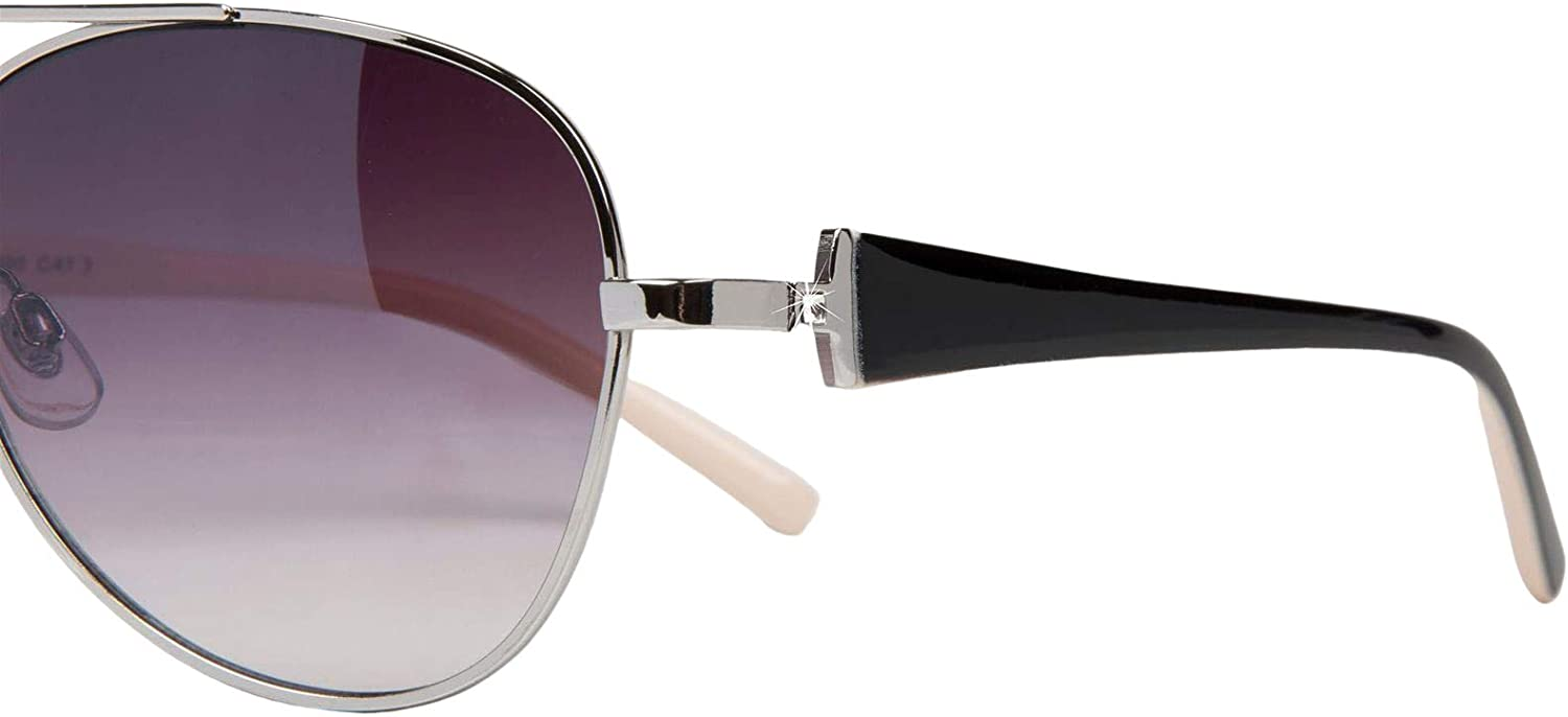 styleBREAKER elegant women 09020053 tinted Pilot Glasses for Ladies Sunglasses with laquered frames and rhinestone