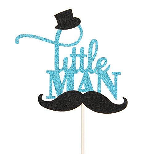 Blue Glitter Little Man Cake Topper with Black Hat and Mustache, Birthday Party Baby Shower Cake Decorations -