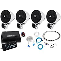 Package:(2)Pairs of Kicker 40PSM32 PSM3 Waterproof Motorcycle & ATV Handlebar Speakers+Kicker Motorcycle & ATV 2-Channel Bluetooth Amp Plus Remote+Waterproof Marine/Boat Amp Wire Installation Kit