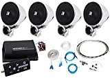 Package:(2)Pairs of Kicker 40PSM32 PSM3 Waterproof Motorcycle & ATV Handlebar Speakers+Kicker Motorcycle & ATV 2-Channel Bluetooth Amp Plus Remote+Waterproof Marine/Boat Amp Wire Installation Kit